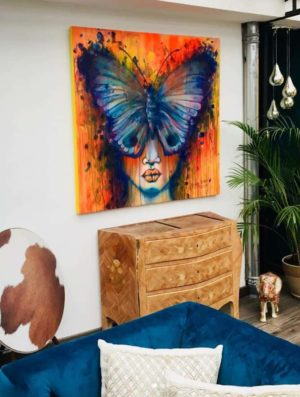 Huile et acrylique sur toile | Femme papillon par Julie Dalloz en 2018