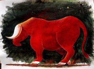 Enigmatique taureau rougeoyant. Peinture contemporaine
