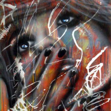 Street Art à la bombe aérosol, peinture sur toile en coton, unique