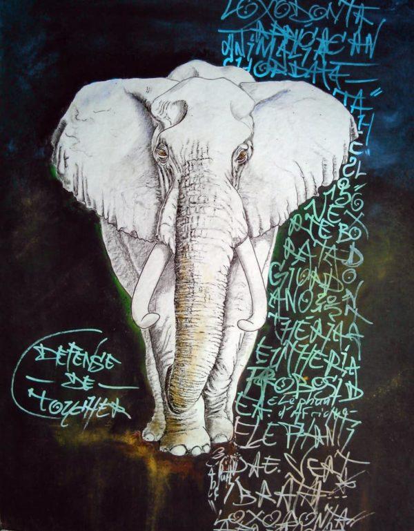 L'éléphant, sa majesté par Gier, peintre contemporain.