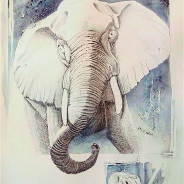 Eléphant blanc sur fond bleu grisé. Peinture Aquarelle par Gier