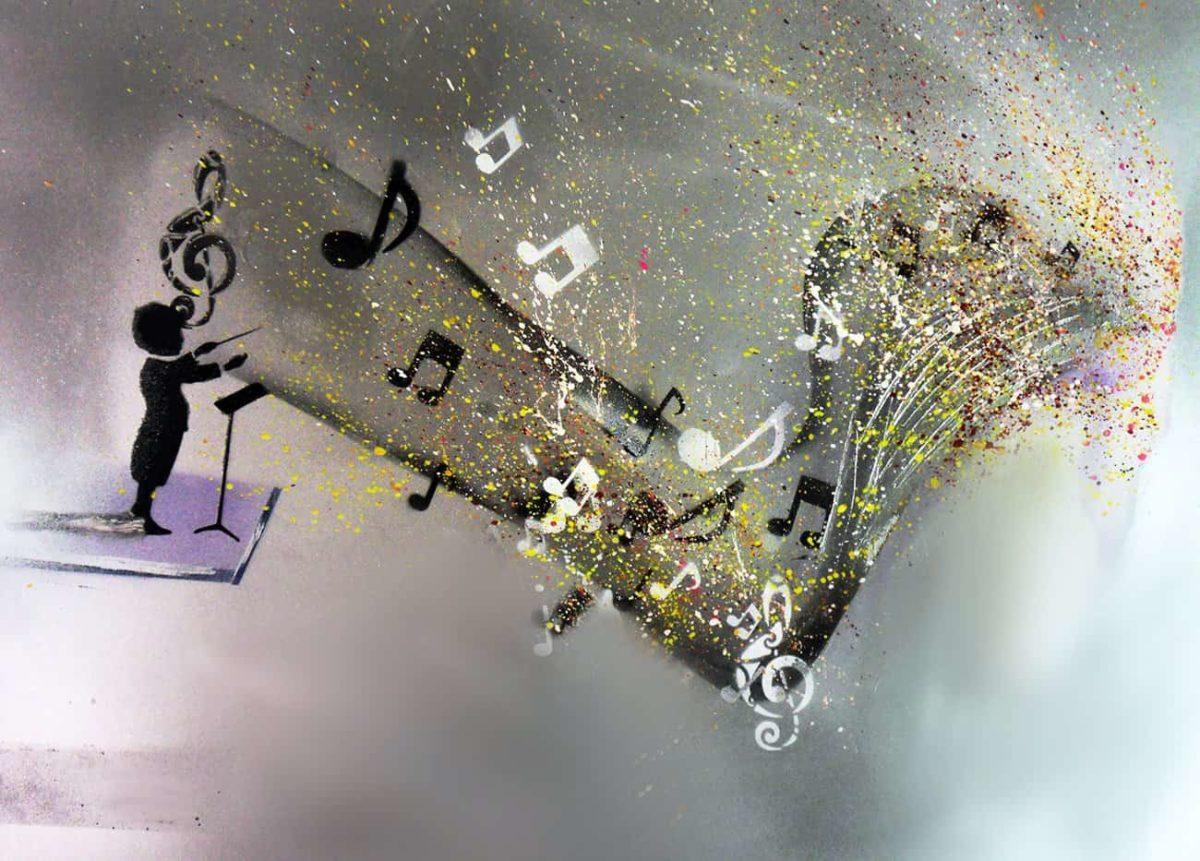 Peinture acrylique, bombe, paillettes et feuilles d'or