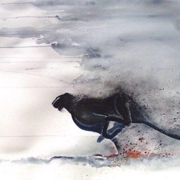 Panthère noire qui se dérobe. Peinture unique n°4 par Gier
