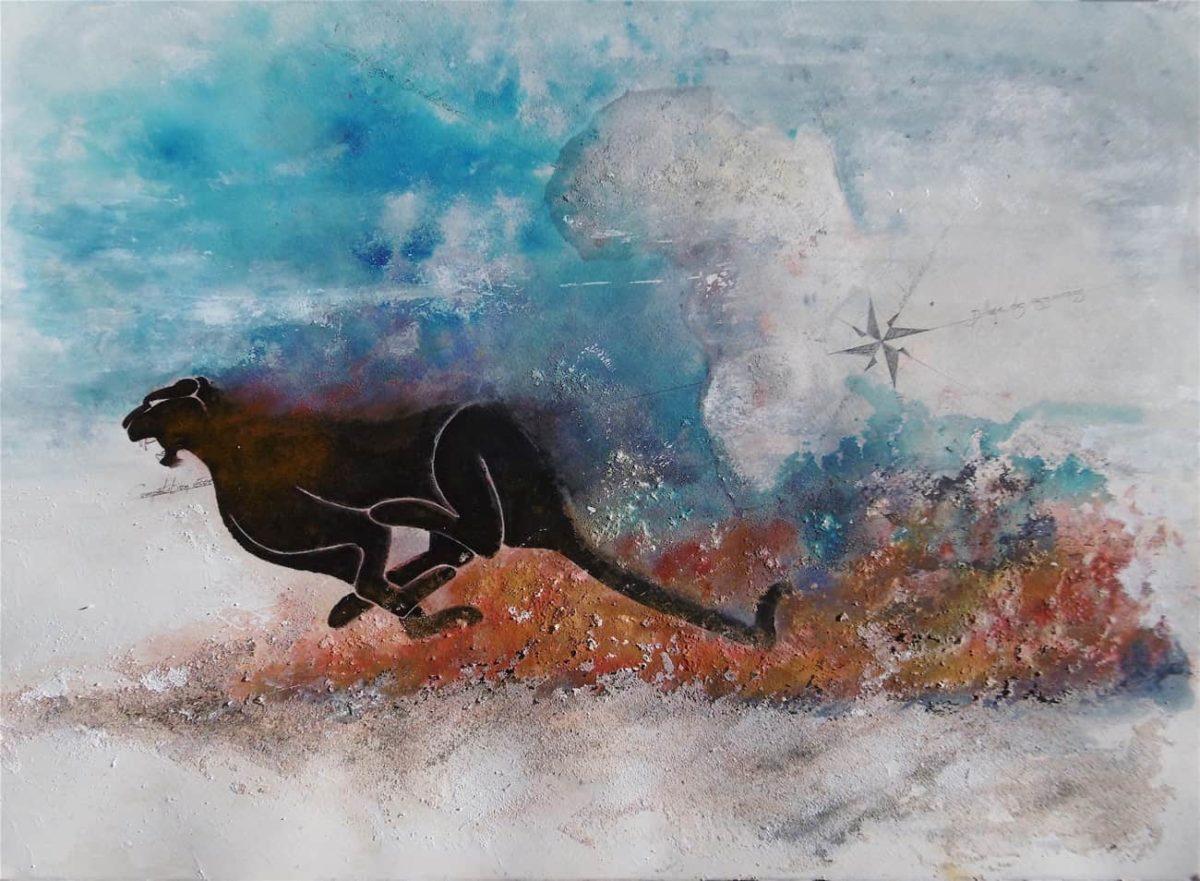 La fuite de la panthère. Peinture unique n°5 par Gier