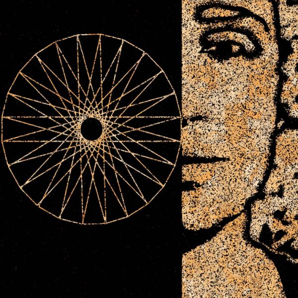 Camaïeu d'ocre sur noir. Figure mythologique en peinture digitale.