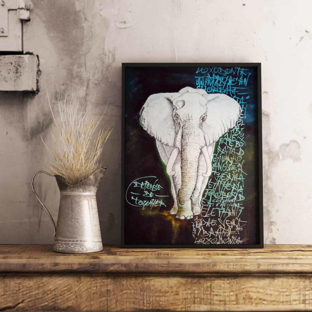 Eléphant sur fond noir