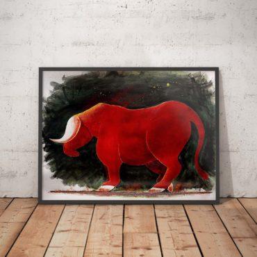 Taureau aux couleurs rouges. Œuvre unique présentée en show room