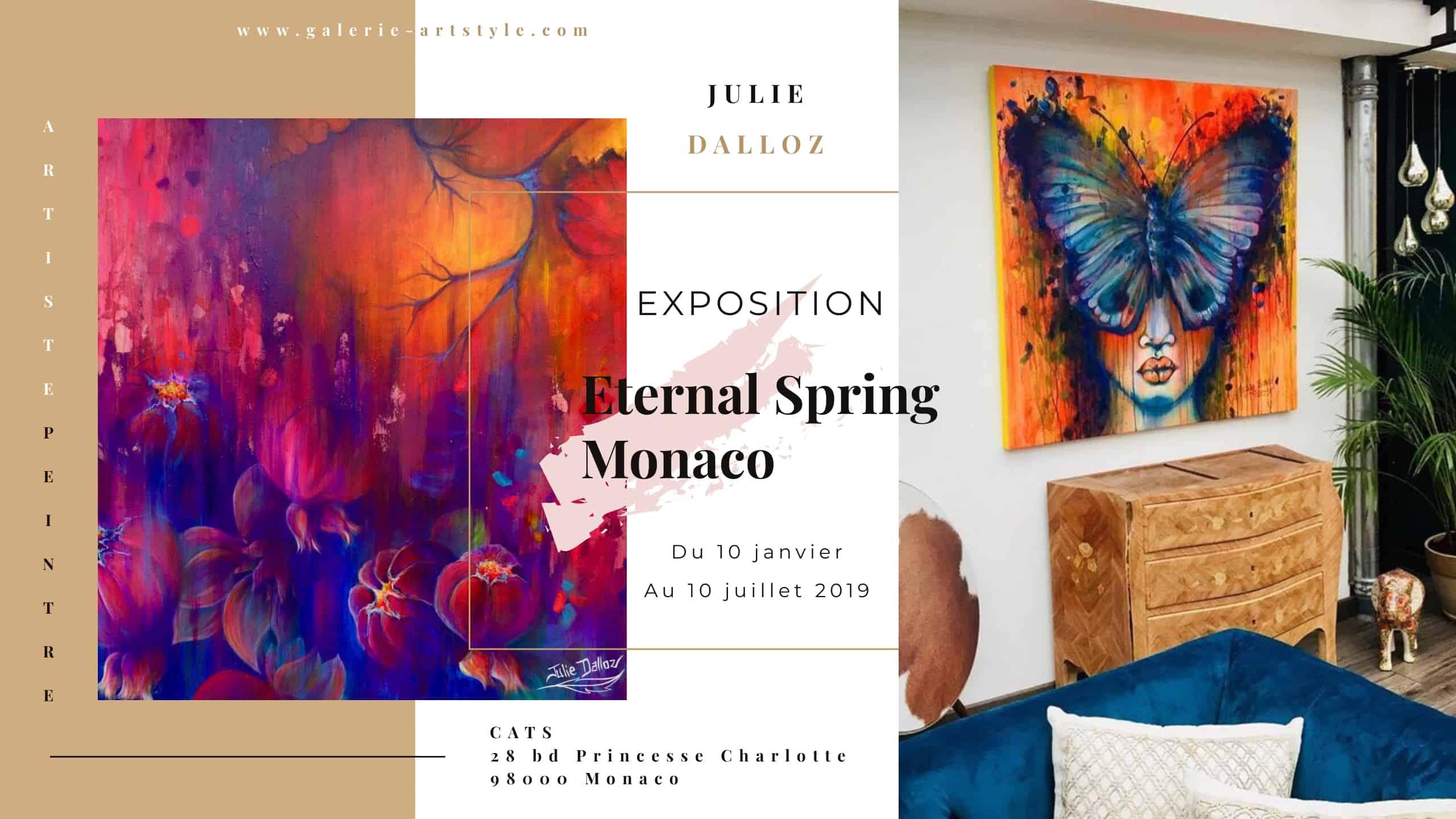 Julie Dalloz sera visible tout le 1er semestre 2019 à Monaco chez Cats