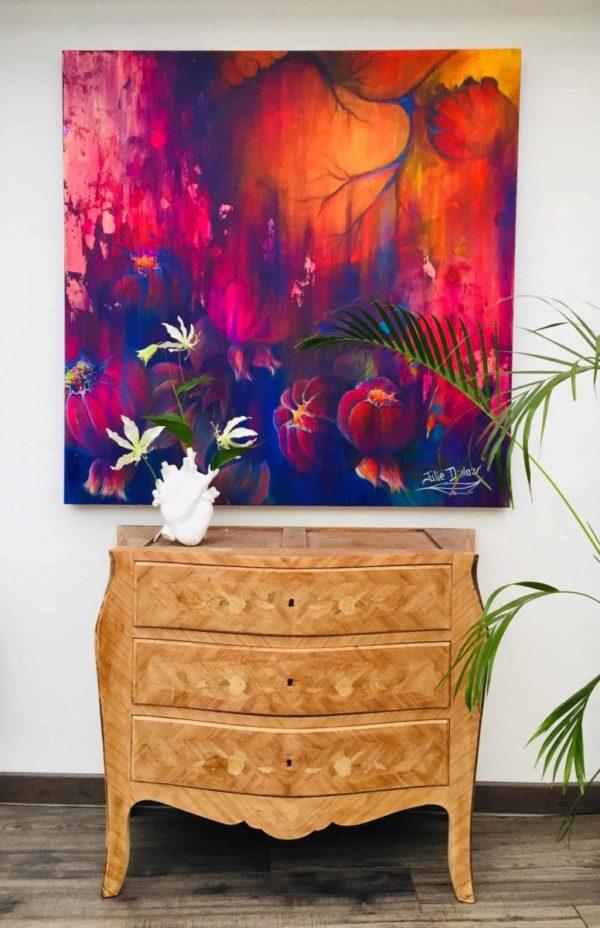 Peinture acrylique et feuille d'or sur toile tendue