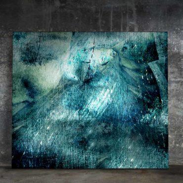 Peinture digitale Abstraite. Nuances de bleus, tons sur tons